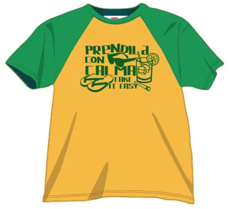 maglietta verde gialla-take it easy t-shirt-verde-ok